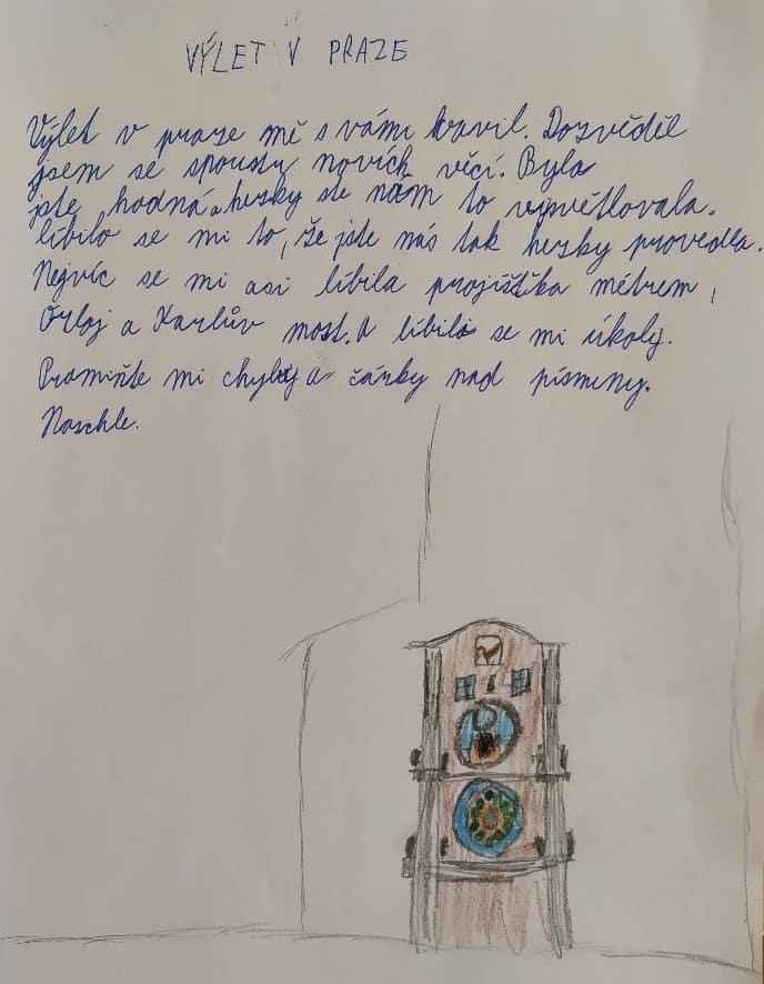 Dopis od žáka - poznáváme Prahu